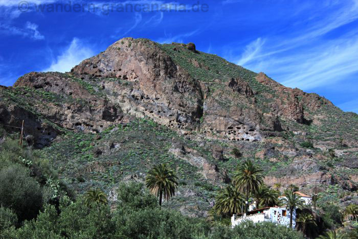 archaeological site of Montaña de los Huesos, a cave village of natives of Gran Canaria