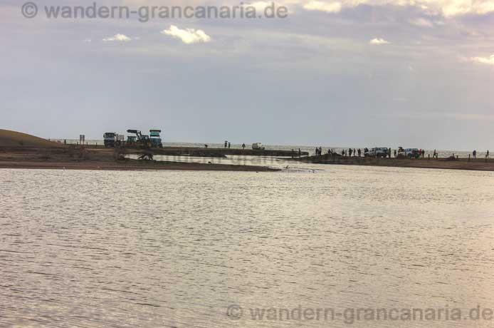 Charca, See von Maspalomas mit Fluss, Ausgang zum Meer
