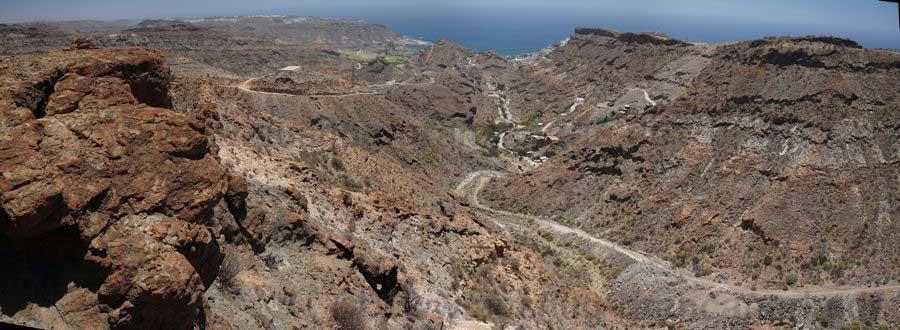 Barranco de Playa del Cura und der Golfplatz von Tauro im letzten Teil der Wanderung.
