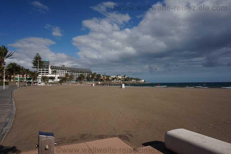 Sandstrand von Las Burras, Blick Richtung Osten, Gran Canaria Süden