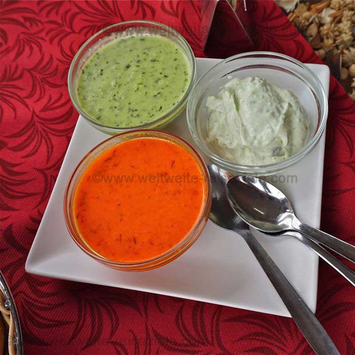 Roter Mojo, Grüner Mojo und Ali Oli, auf den Kanaren bekannte Saucen
