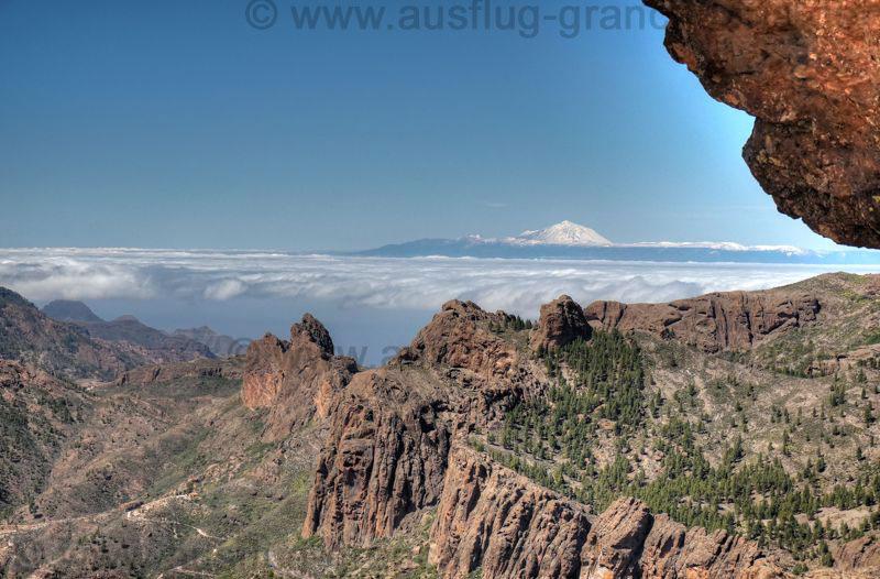 Blick von Gran Canaria nach Teneriffa, Teide mit Cañadas mit Schnee
