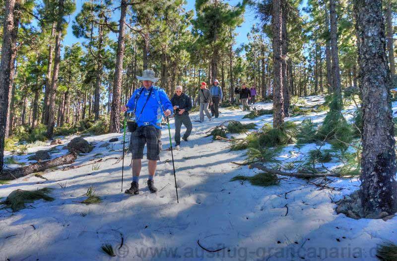 Abstieg bei einer Wanderung im Schnee im Zentrum von Gran Canaria
