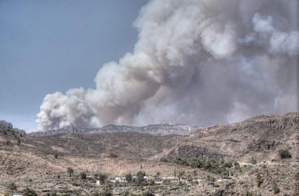 Dichte Rauchwolken beim Grossbrand auf Gran Canaria über den höchsten Bergen der Insel.